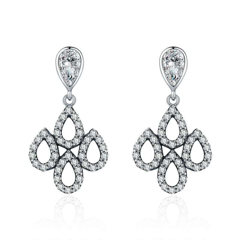 SHIQIER 925 Sterling Silver Romantic Droplet Ethnic Drop Earrings Lady Sterling Silver Earrings Jewelery