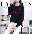 5xl плюс большой размер blusas feminina весна осень зима 2017 корейских женщин новый черный футболки женский A2556