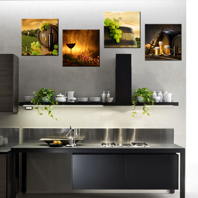 4 Panel Contemporary Art Red Wine Barrel HD Printed Modern Home Decor Wall  Pictures For Kitchen