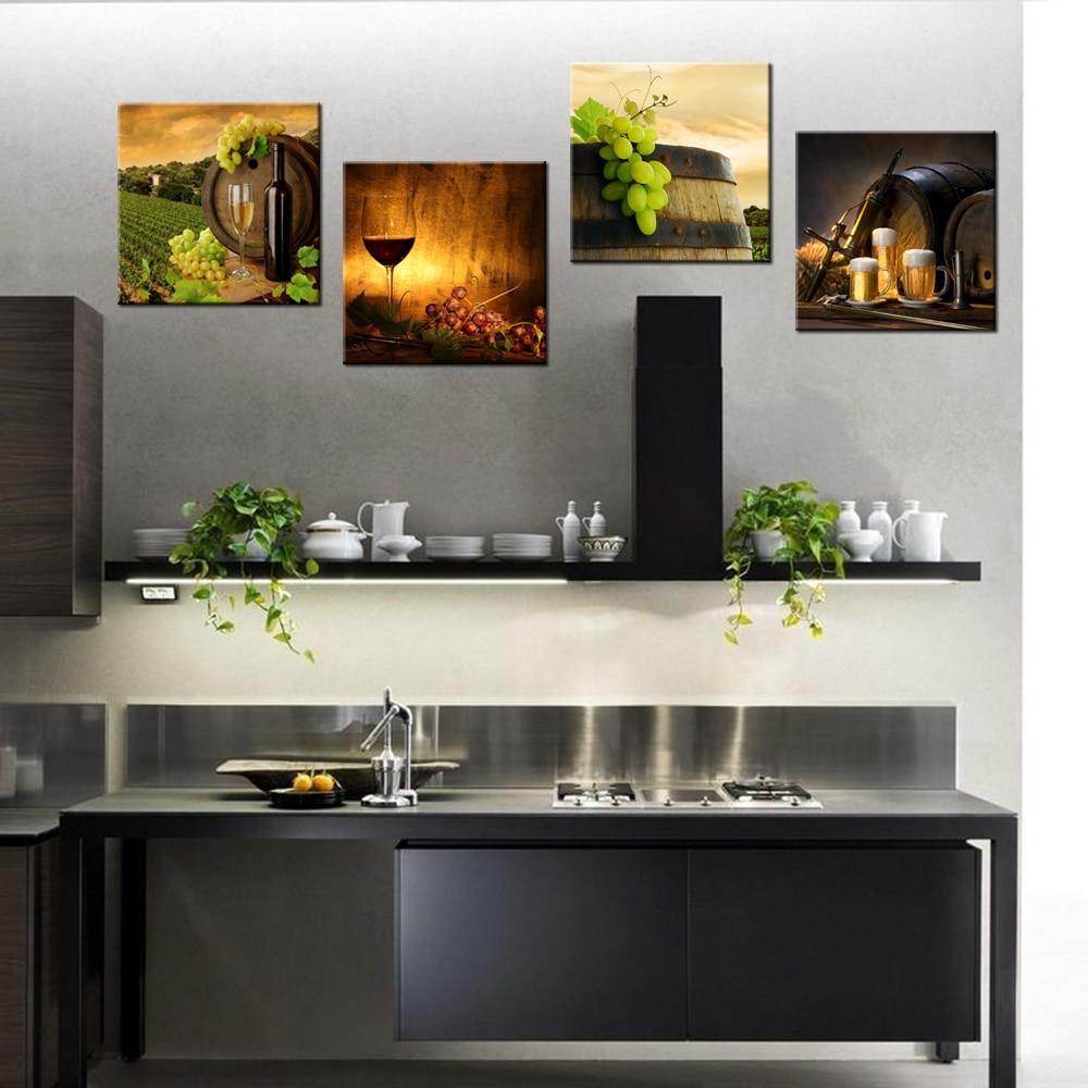 US $22.73 10% OFF|4 Panel Zeitgenössische Kunst Rotwein Barrel HD Gedruckt  Moderne Home Decor Wandbilder Für Küche Esszimmer Dekoration 30x30cmx4-in  ...