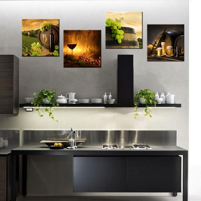 4 Panel Zeitgenössische Kunst Rotwein Barrel HD Gedruckt Moderne ...