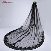 Black Lace Long Cathedral Wedding Veil 3 m Vail One Layer Bride Bridal Veils Metry