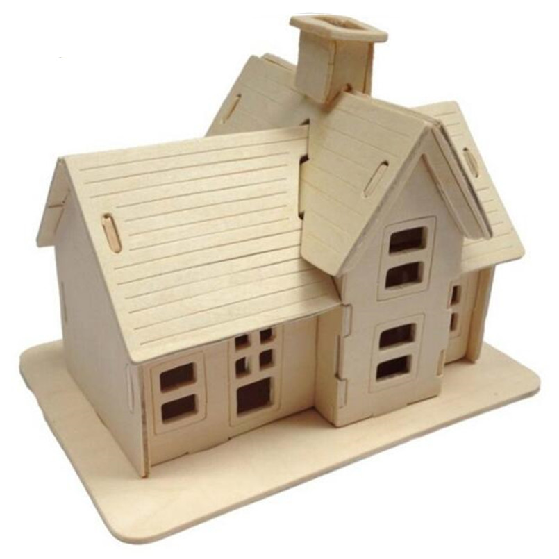 Aliexpress Com Buy Educational Toy Wooden Build House Miniature Model 3d Puzzles For Children Diy Country Station Design House Model 19 5 14 5 16cm From