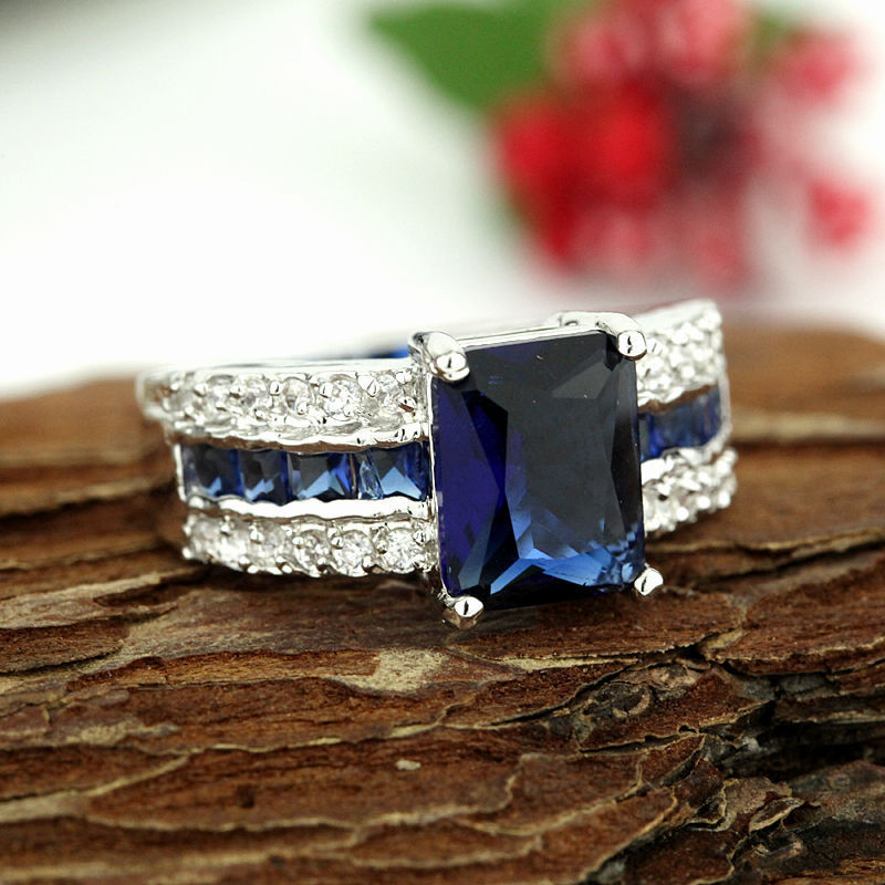 Free shipping shipping> >>>Fashion Jewelry sapphire 925 sterling silver ring size7 8 9 rings