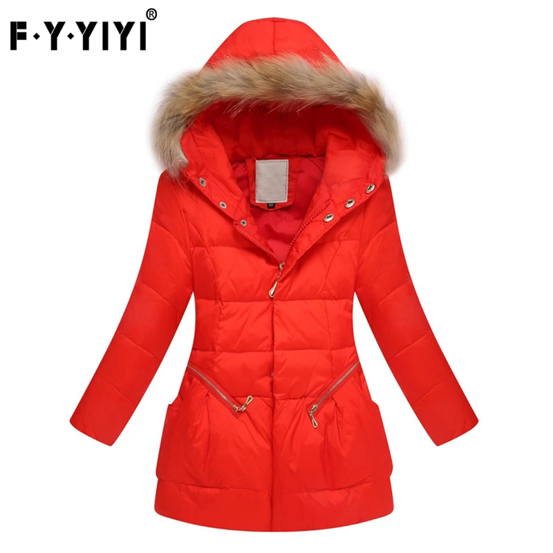 New age children's wear Beautiful elegant girl down jacket Medium and large children in the winter long thick down jacket pu leather and corduroy spliced zip up down jacket