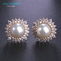 MECHOSEN Simulated-Pearl Stud Earrings Gold Plated Crystal Orecchini For Women Big Beads Copper Brincos Ears Piercing Schmuck