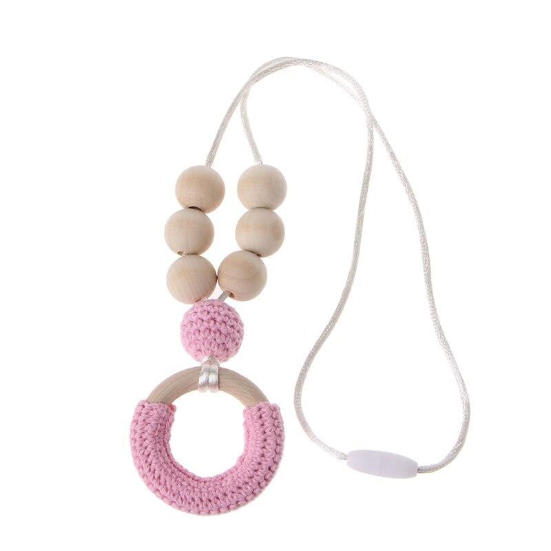 ОРГАНИЧЕСКИЙ ХЛОПОК прорезывания зубов Цепочки и ожерелья для мамы деревянный звонкое Цепочки и ожерелья ребенка мама подарок Аксессуары для младенцев - Цвет: Розовый