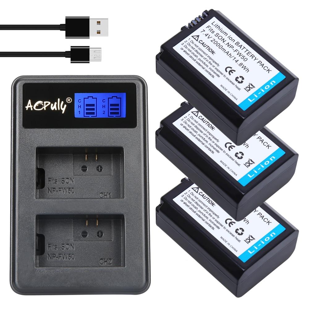 3 Unid NPFW50 NP-FW50 NP FW50 Cámara batería + cargador para SONY A5000 A5100 A7R A6000 5 t 5C 3N A7 NEX6 NEX7 NEX5TL NEX5R NEX5N