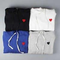 Japon des été coeur broderie femmes hommes blouson à capuche Hiphop Streetwear hommes coton pull à capuche