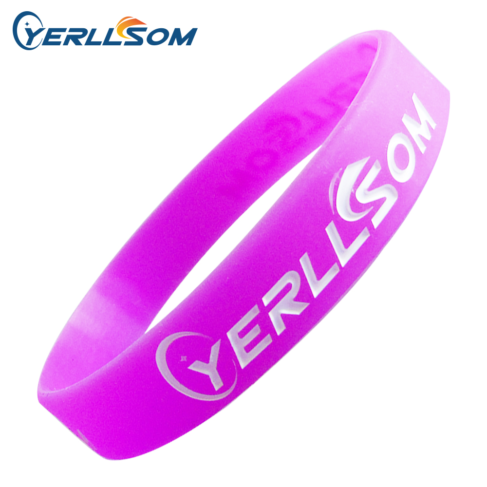 100PCS lot Free Shipping Customized Engraved and ink filled Rubber Silicone Bangles For Events Y060102