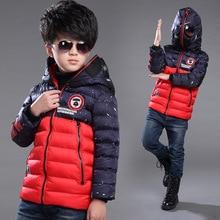 Children Boy winter jacket Spiderman windproof hooded glasses cartoon outerwear kids coat cotton padded warm winter coat