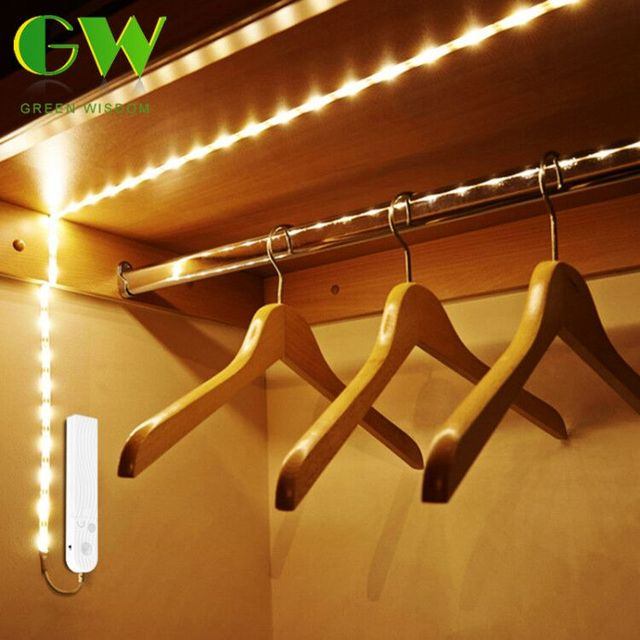 LED Night Lights With Pir Motion Sensor 1M 2M 3M AAA Battery Power Flexiable LED Strip Lamp Wardrobe Cabinet Stairs Lights