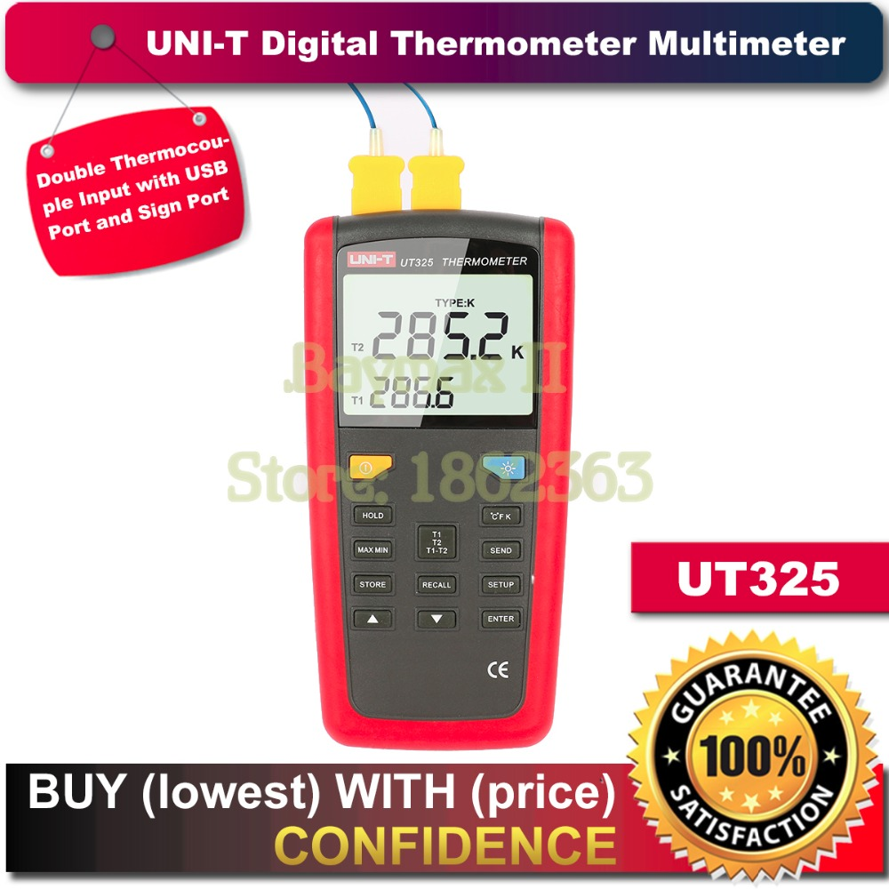 UNI-T UT325 Digital Thermometer Temperature Meter Tester T1-T2 Dual Input with High/Lower Alarm & Auto Calibration