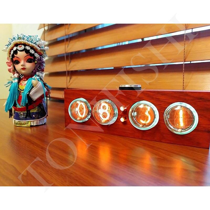 NIXIE CLOCK IN 4 glow tube clock tube clock solid wood clock Beautiful appearance and clear