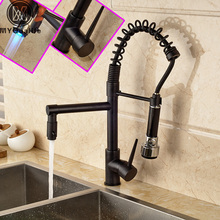 Deck Mounted Handheld Dual Spout Kitchen Faucet LED Light Swivel Pull Down Mixer Taps Oil Rubbed Bronze Finish