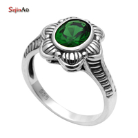 Szjinao Wholesale 925 Sterling Silver Fashion Green Emerald Crystal Victoria Antique Ring Valentine Day Gifts alibaba express
