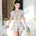 FREE SHIPPING Le Palais Vintage 2016 Summer New Sexy PIN UP Low V Neck Short Top And Culottes Sets Women High Waist Clothes Suit