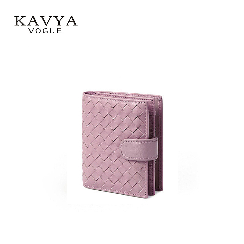 KAVYAVOGUE NEW Fashion Women Sheepskin Genuine Leather Wallet Lady Classic Short Wallet Coin Purse Bags Female Gift Package