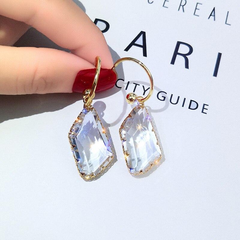 FYUAN Korea Geometric Drop Earrings for Women Bijoux Irregular Transparent Crystal Drop Earrings Statement Earring Jewelry Gifts
