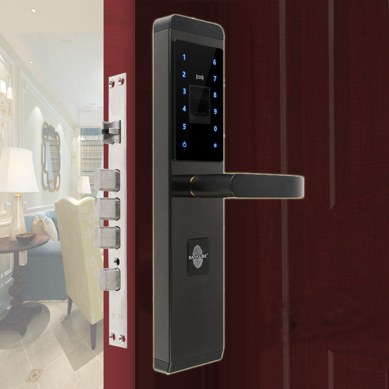 RAYKUBE Electronic Lock With Fingerprint Password ID Card Mechanical Key 4 In 1 Opening For Home