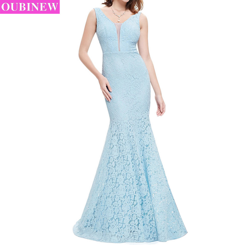 OUBINEW party dresses women Gown 2017 formal long dress party robe soiree lace plus size vestido