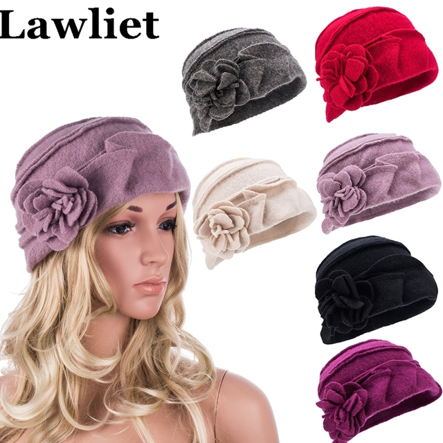 Elegant Winter Women Cap Ruched Effect Solid knitted Wool Ladies Hat Female Beanies Hat for Women Thick skullies Bucket hat A376