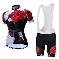 Women Cycling Clothing Suits Bicycle Jersey (Bib) Shorts Sets Rose Flower Red XS 4XL