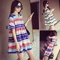 Хлопок полоска платья для беременных одежда для беременных женщины элегантный дамы беременность одежда лето