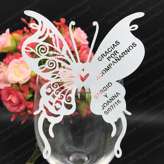 50pcs wedding place cards for wine glassinvitation cards printablebutterfly wedding invitations - Printed Wedding Place Cards