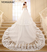VENSANAC Sequined Strapless Court Train Ball Gown Wedding Dresses 2018 Tiered Lace Appliques Crystal Bridal Gowns