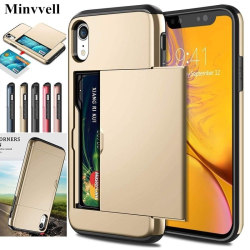 Case for iPhone 7 7plus 8 8plus Card Slot Shockproof Hard PC Soft TPU Hybrid Wallet Case for iPhone XR 7 Plus case iPhone 8plus 7