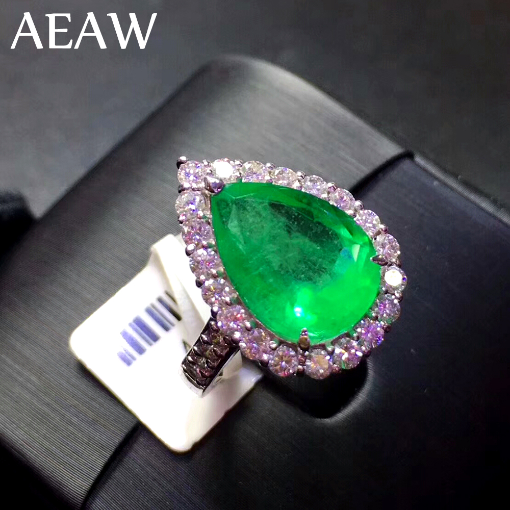 AEAW 4ct AAA Pear Lab Grown Colombian Emerald CCE Emgagement Ring Genuine Solid 14k White Gold