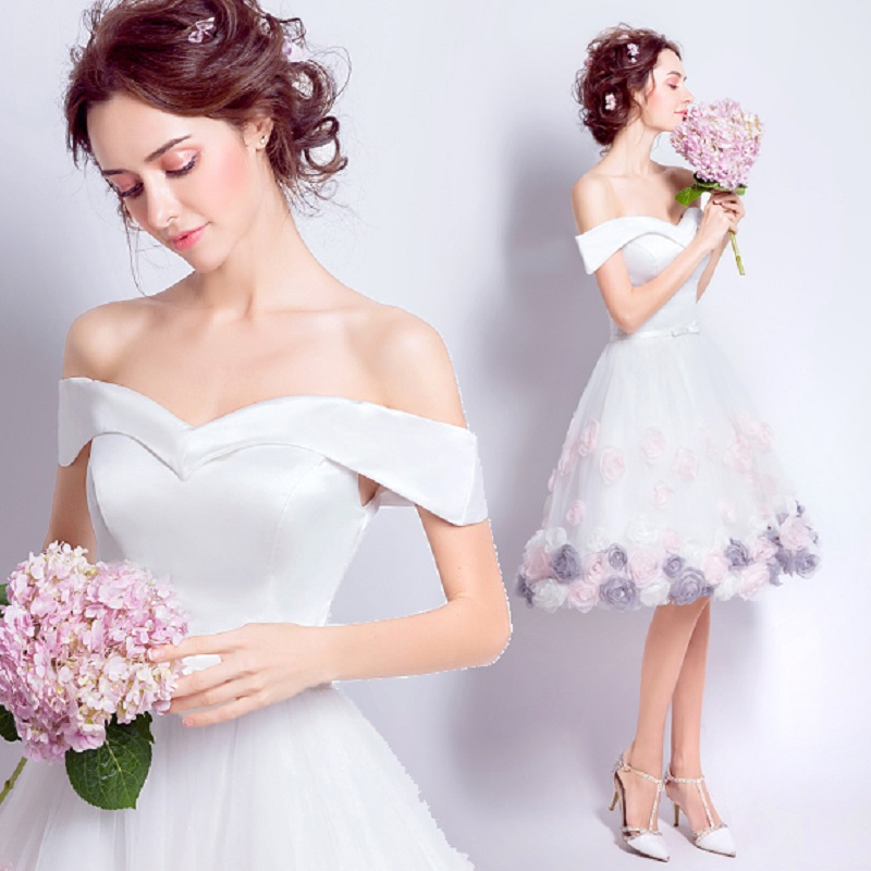 2018 new stock plus size women pregnant   bridesmaid     dresses   wedding party boat neck lace flower sexy romantic cheap white   dress