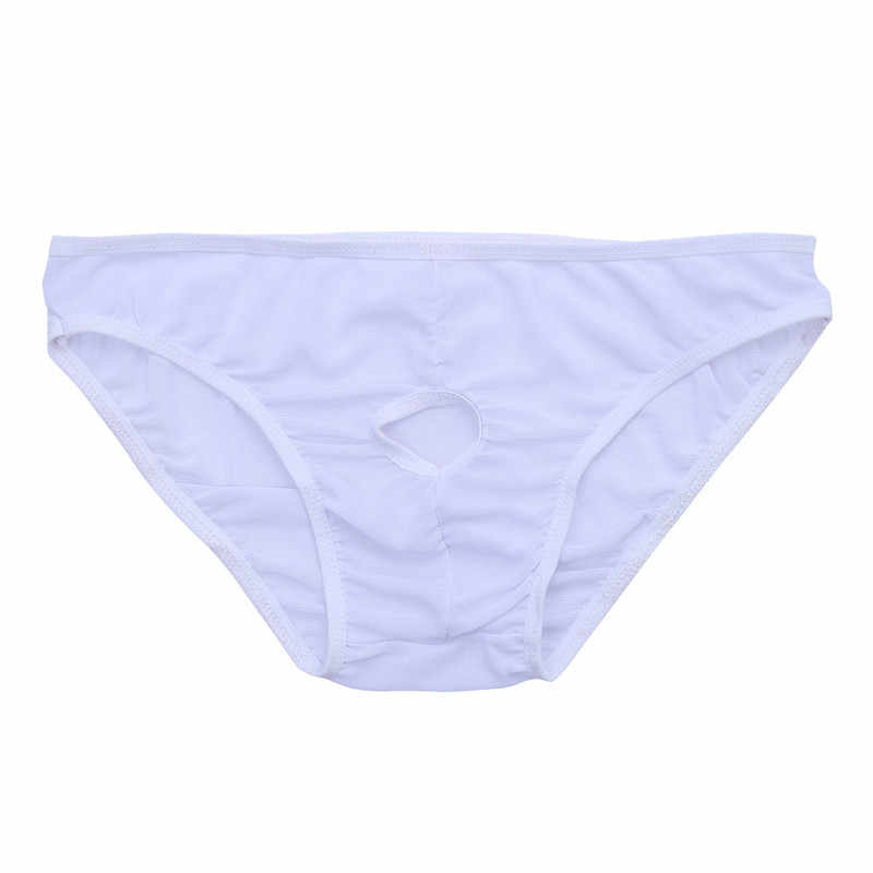 Mens Lingerie Sexy Underwear Briefs Open Front Pouch Thongs Penis Hole Hollow Out Transparent G-string Fetish Tanga Male Pants