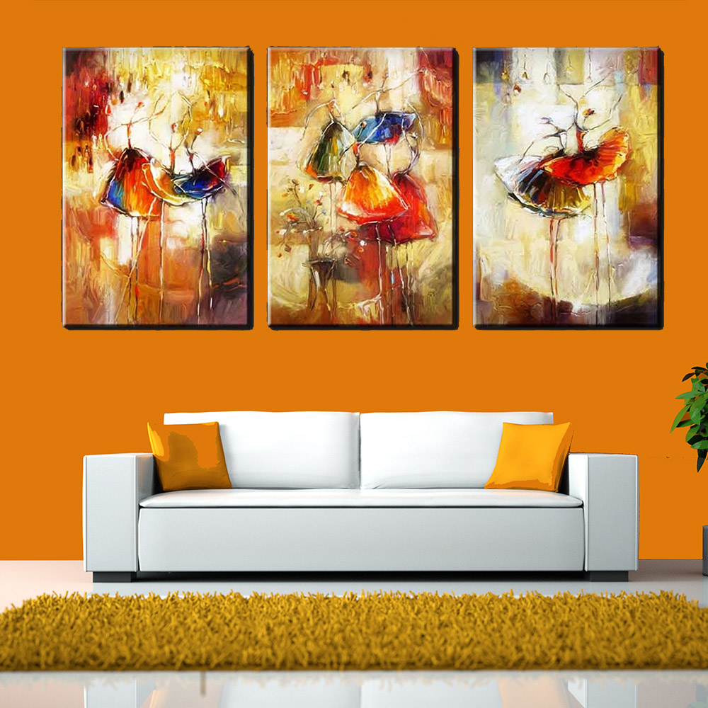Iarts Contemporary Paintings On Canvas 3 Styles Canvas: 2017 Modular Pictures 3 Panels Ballet Dancers Abstract Oil