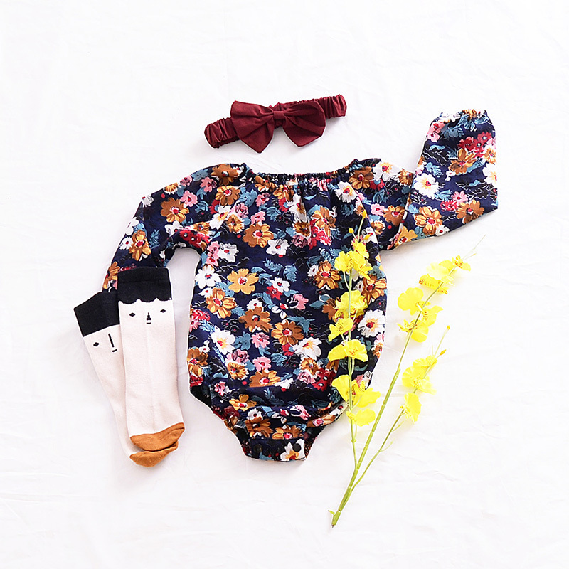 Black Floral Woven Cotton Clothing And Baby Siamese Triangle Ha Long Sleeved Climb Clothes Infant Bebe Girl Flower Romper