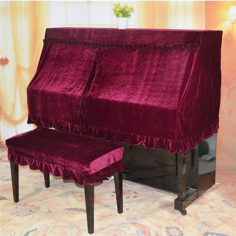 4 Colors Dustproof Piano Half Cover Elegant Pleuche Upright Piano Protector with Double Piano Stool Cover Home Dust Covers