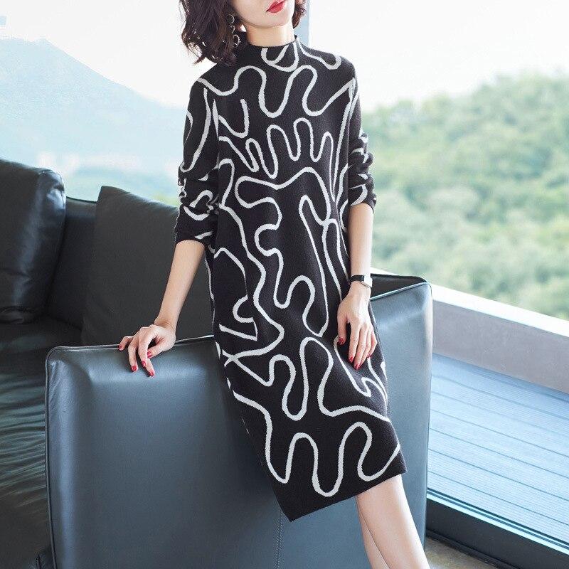 Pull robe 2018 hiver mode femmes nouveau col montant à manches longues géométrique imprimé lâche chaud laine tricoté robe Midi - 3