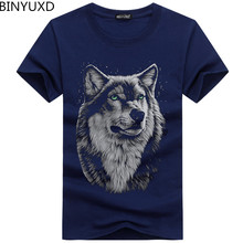 BINYUXD cotton 3d t shirt men 2017 summer new arrvial 3D funny wolf man's T-shirt extended plus size 5XL white black blue