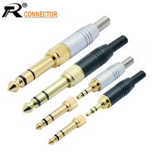 цена на 4pcs/lot 3 poles 3.5mm stereo male plug screw-in 3.5mm female jack to 3 pole 6.35mm plug adapter 2 in 1 audio connector