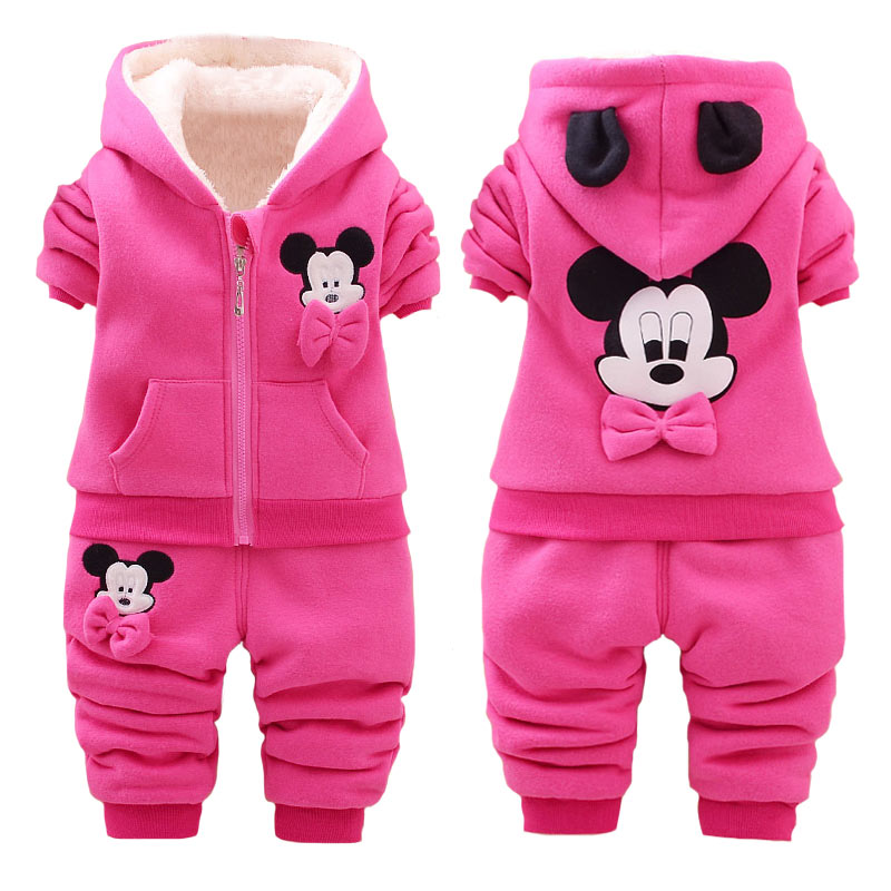 Baby Girls Mickey Mouse Clothing Sets Kids Winter Thicken Cotton Long Sleeve Warm Outerwear+Pants Suit Toddlers Set For 1-4 Year new baby girls boys mickey clothing sets kids autumn character cotton long sleeve shirt pants suit children set for 1 4 years