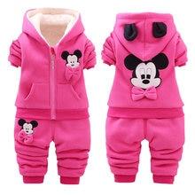 Baby Girls Print Clothing Sets Kids Girls Winter Thicken Cotton Long Sleeve Warm Outerwear+Pants 2Pcs Suit Toddler Set