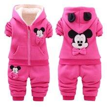 Bebek kız baskı giyim setleri çocuk kız kış kalınlaşmak pamuklu uzun kollutişört sıcak giyim + pantolon 2 adet Suit Toddler seti