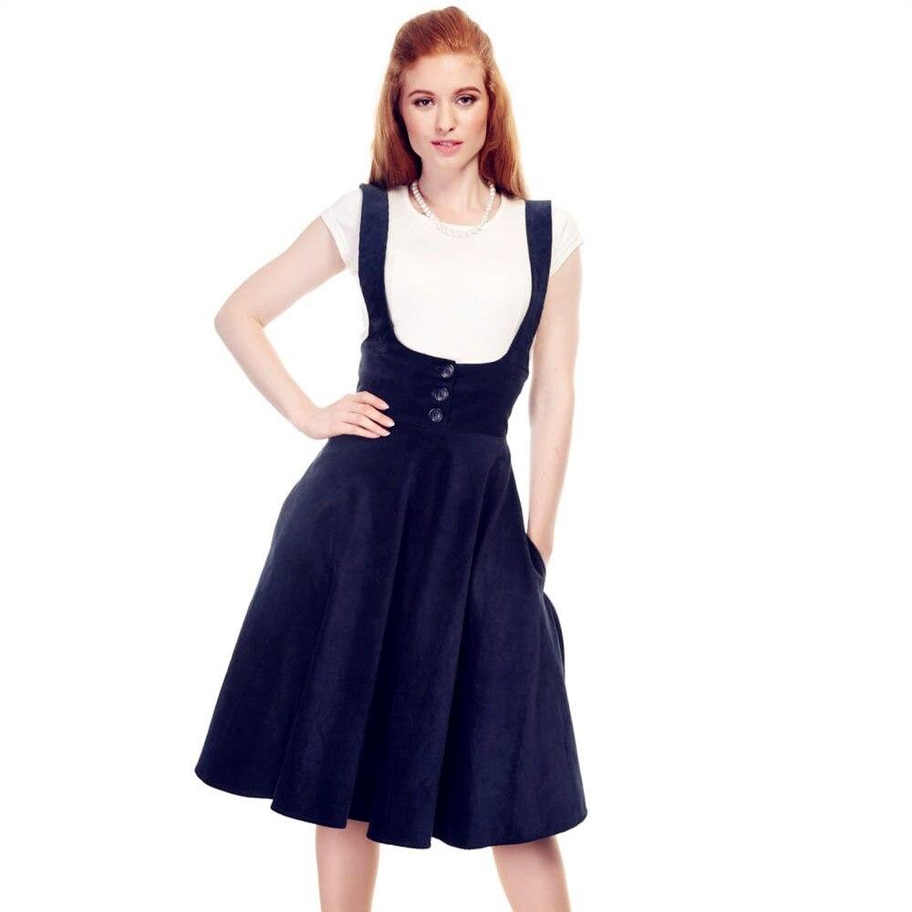 2db0b31c010 25- women vintage 50s navy corduroy high waist suspender swing skirt plus  size jumper jupe