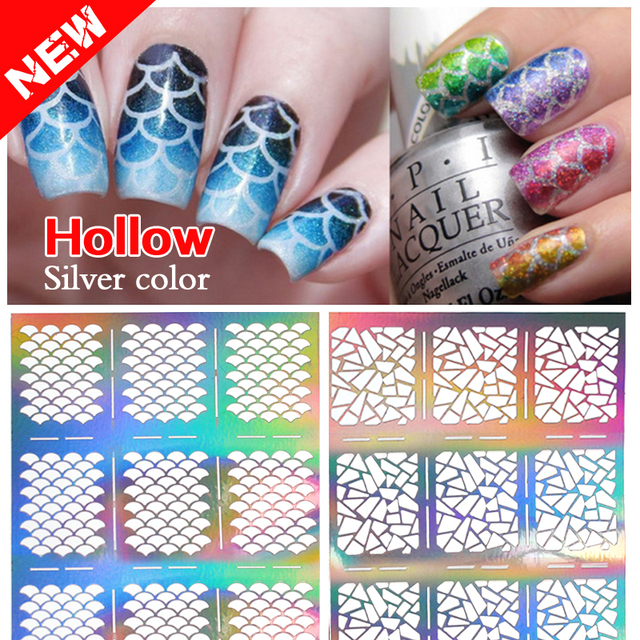 2016 New 1sheet Silver Hollow Stencil Nail Stickers Fish Scale Pattern DIY  Nail Stamping Polish Guide