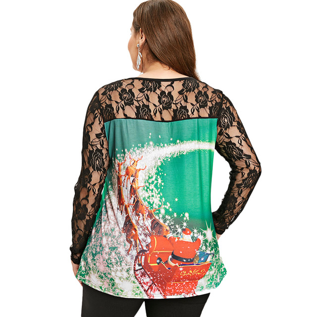 Plus Size Lace Panel Christmas T-shirt Tops