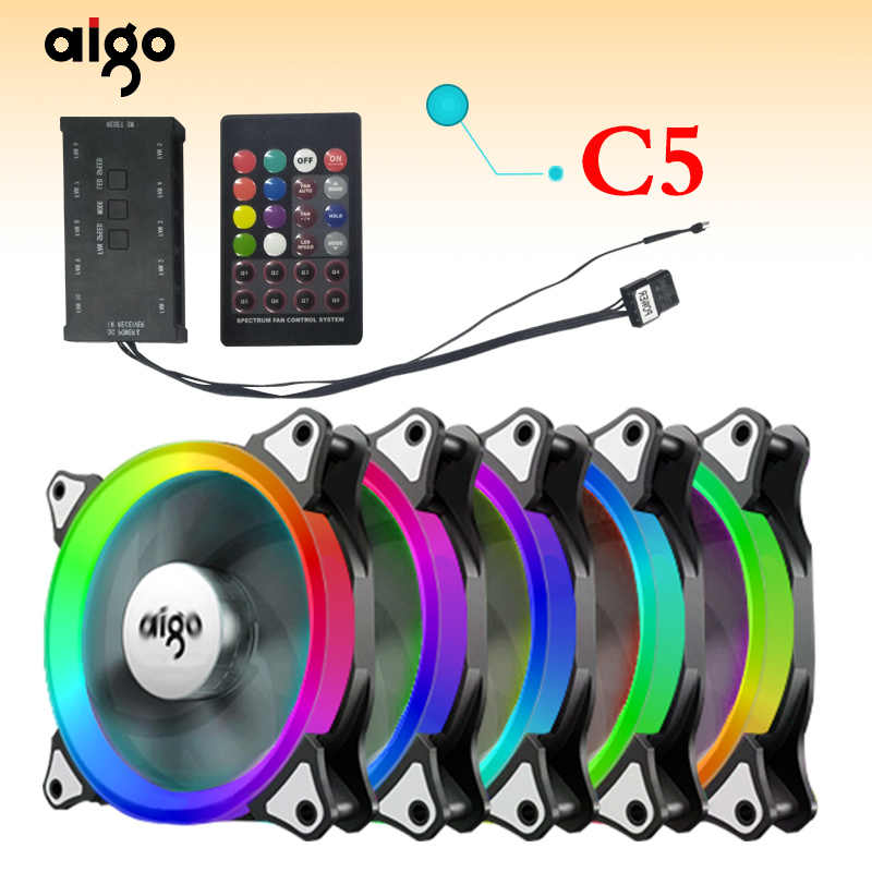Aigo aurora c5 computer pc case fan adjust led 120mm 12v
