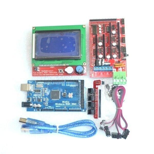 Excelente Mega 2560 R3 Mega2560 REV3 + RAMPS 1.4 Controlador + RAMPS1.4 LCD 12864 LCD para kit arduino Impressora 3D Reprap MendelPrusa