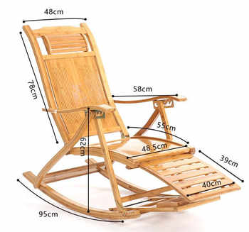 Folding Rocking Chair Armchair W/Footrest&Massage Mahogany Finish Foldable Rocker Outdoor Patio Furniture Bamboo Chair Recliner