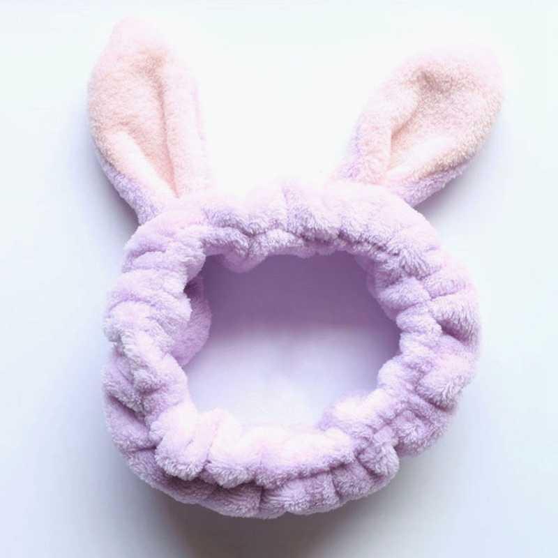 Симпатичные Банни уха макияж повязки для мытья лица душ плюшевые мягкие и милые мохнатое кроличье ушко полосы для девочек